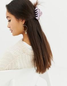 Заколка для волос с отделкой Pieces Mira - Фиолетовый