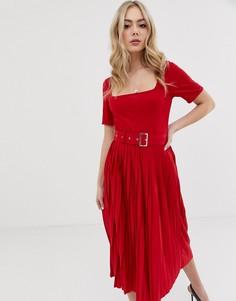 Платье миди с плиссированной юбкой и ремнем ASOS DESIGN - Красный