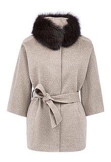 Шерстяное пальто с отделкой мехом песца La Reine Blanche