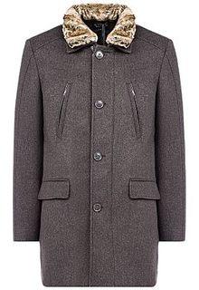 7bbe63d8b Утепленное полушерстяное пальто с отделкой искусственным мехом Al Franco