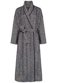 Пальто-халат с кожаной отделкой La Reine Blanche