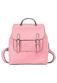 Розовый кожаный рюкзак La Reine Blanche