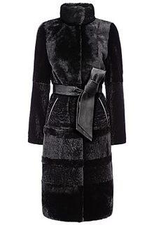 Шуба из овчины с отделкой мехом норки и кожаным поясом Снежная Королева