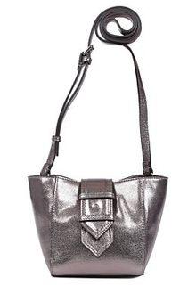 Серебристая сумка из натуральной кожи Palio