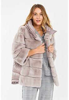 Комбинированная шуба из меха кролика с капюшоном Virtuale Fur Collection