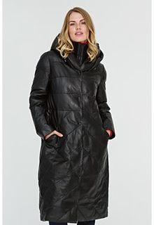 Утепленное кожаное пальто с капюшоном La Reine Blanche