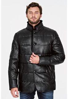 Утепленная кожаная куртка с отделко ймехом норки Al Franco