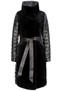 Утепленное пальто из натуральной кожи и овчины La Reine Blanche