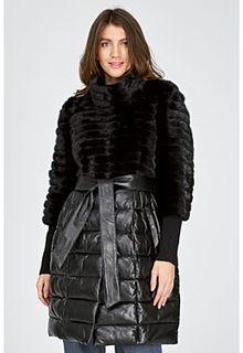 Комбинированное пальто из норки и натуральной кожи La Reine Blanche
