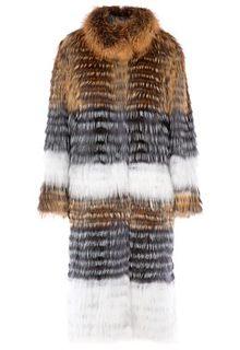 Облегченная шуба из меха лисицы, чернобурки и енота Virtuale Fur Collection