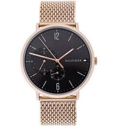 Часы круглой формы с золотистым металлическим ремешком Tommy Hilfiger
