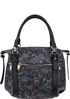 Кожаная сумка с цветочным принтом Fiato