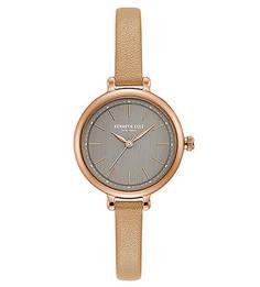 Кварцевые часы с тонким кожаным ремешком Classic Kenneth Cole