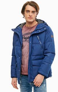Удлиненный пуховик синего цвета Pepe Jeans