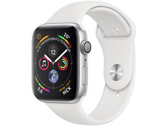 Умные часы APPLE Watch Series 4 44mm Silver Aluminium Case with White Sport Band MU6A2RU/A