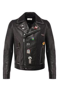 Кожаная куртка на косой молнии Saint Laurent