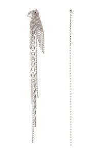 Серебристые асимметричные серьги с попугаем Herald Percy