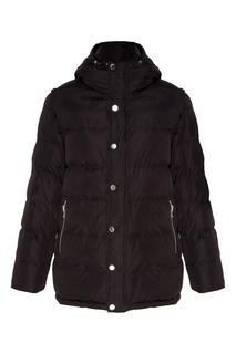 Черная стеганая куртка с капюшоном Papermint
