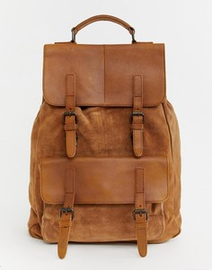 Светло-коричневый рюкзак из замши и кожи ASOS DESIGN - Рыжий