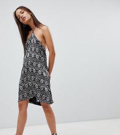 Платье в винтажном стиле с завязкой на шее и змеиным принтом Milk It - Коричневый