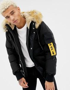 Дутая куртка с искусственным мехом на капюшоне Diesel W-Burke - Черный