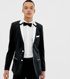 Черный приталенный пиджак-смокинг с белой отделкой ASOS DESIGN Tall - Черный