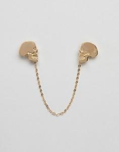 Золотистая цепочка на воротник с черепом Twisted Tailor - Золотой