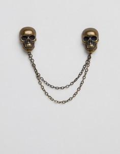 Латунная цепочка на воротник с черепом Twisted Tailor - Золотой