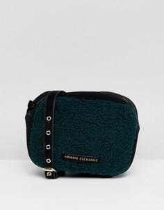 Сумка из искусственного меха с ремешком через плечо Armani Exchange - Зеленый