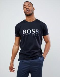 Черная футболка с большим светоотражающим логотипом BOSS Tyger - Черный