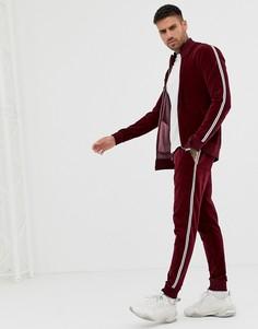 Велюровая спортивная куртка и джоггеры скинни с полосками по бокам и стразами ASOS DESIGN - Красный