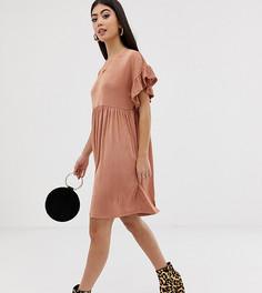 Платье металлик с оборками на рукавах ASOS DESIGN Petite - Розовый
