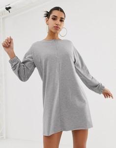 9c9c854f0b0 Трикотажное платье с необработанным краем и молнией спереди ASOS DESIGN -  Серый оверсайз