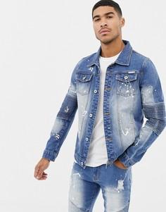 Синяя байкерская куртка с принтом в виде брызг краски Liquor N Poker - Синий