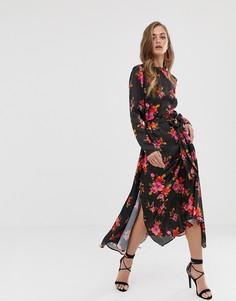 Короткое приталенное платье миди с ярким цветочным принтом ASOS DESIGN - Мульти