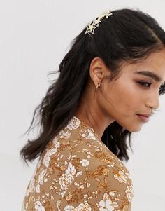 Гребень для волос со звездами и отделкой камнями ASOS DESIGN - Серебряный