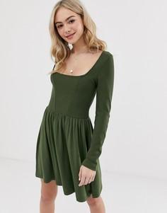 Короткое приталенное платье с длинными рукавами ASOS DESIGN - Зеленый