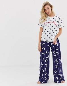 Пижамный комплект из футболки с надписью over the moon и штанов с широкими штанинами ASOS DESIGN - Мульти