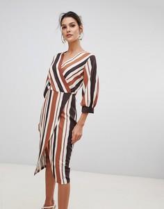 Платье с запахом и контрастными полосками Closet London - Мульти