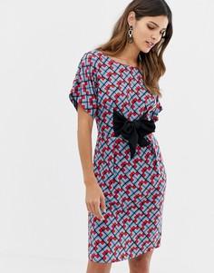Платье с геометрическим принтом и бантом Closet - Мульти