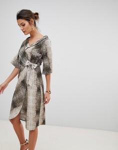 Платье с запахом и змеиным принтом Closet London - Мульти