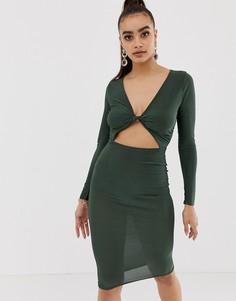 Облегающее платье миди цвета хаки с перекрученной отделкой спереди Missguided - Зеленый