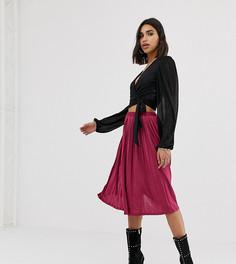 Плиссированная юбка-миди малинового цвета Missguided - Красный