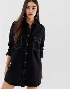 Черное джинсовое платье-рубашка мини с контрастными строчками Missguided - Черный