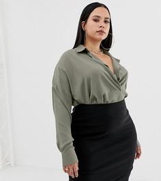 Рубашка цвета хаки с карманом Missguided Plus - Серый