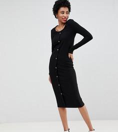 Черное платье миди в рубчик на пуговицах Vero Moda Tall - Черный