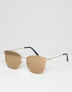 Очки в золотистой оправе с золотистыми зеркальными стеклами ASOS DESIGN - Золотой