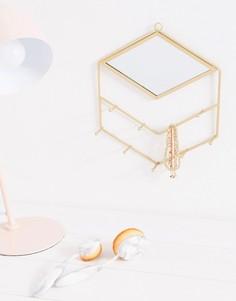 Золотистое зеркало с крючками для украшений Sass & Belle - Мульти