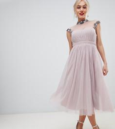Платье миди для выпускного с декорированным воротником и рукавами Little Mistress - Розовый
