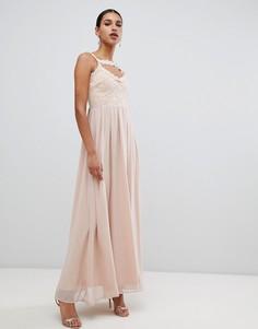 Платье макси с перекрестами на груди AX Paris - Кремовый